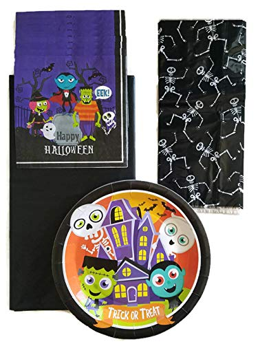 Greenbrier Halloween Party Supplies Paper Plate and Napkin Bundle of 4 Includes Plates, Napkins, Party Bags and Tablecloth - Service for 12 -