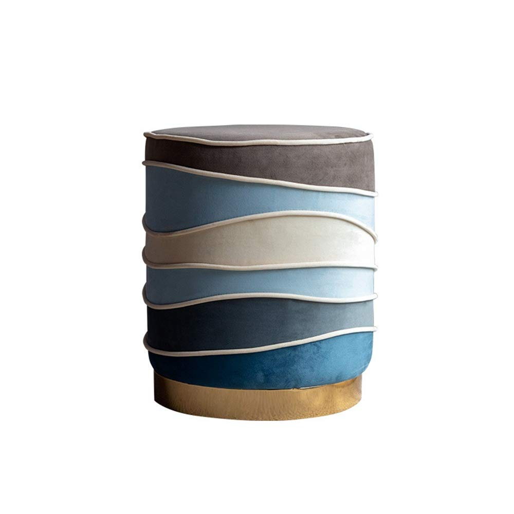 Huangjiahao Schminkhocker Moderne Rund Ottoman Hocker mit Edelstahlboden Polster Moderne Wohnkultur Für Schlafzimmer Klavierzimmer (Farbe, Größe : 37x37x45cm)