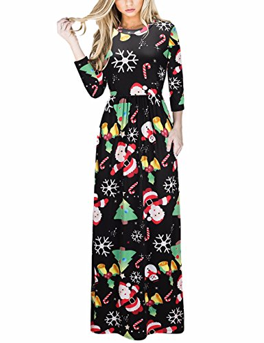 Long 5 Print Women's 1 Xmas Dress Maxi Christmas Party Type Christmas Print Ugly Ruiyige Christmas Christmas Dress qaw4dX4z