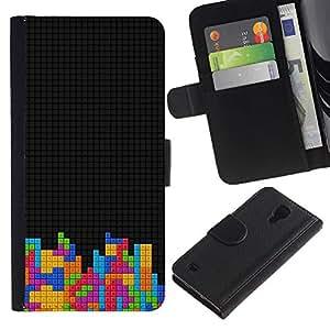 Samsung Galaxy S4 IV I9500 - Dibujo PU billetera de cuero Funda Case Caso de la piel de la bolsa protectora Para (Cool T3Tris Game Blocks)