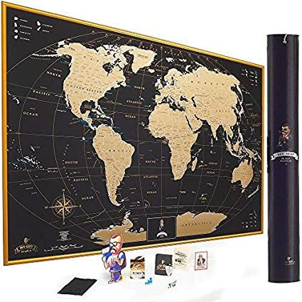 Amazon.com: MyMap Gold Scratch Off World Map Wall Poster with US ...