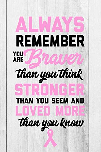 Always Remember You Are Braver Than You Think: Breast Cancer Journal To Write In For Women: 6x9 Inch, 120 Page, Blank Lined Notebook
