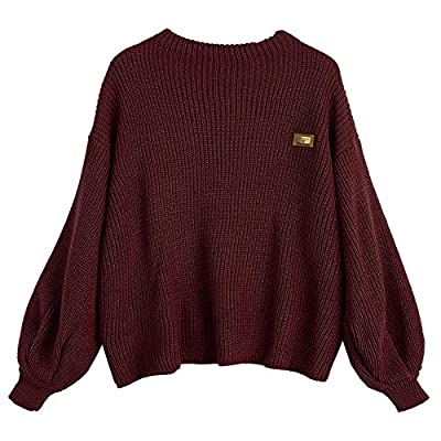 ZAFUL Women's Casual Loose Knitted Sweater Lantern Sleeve Crewneck Fashion Pullover Sweater Tops Dark Red at Women's Clothing store