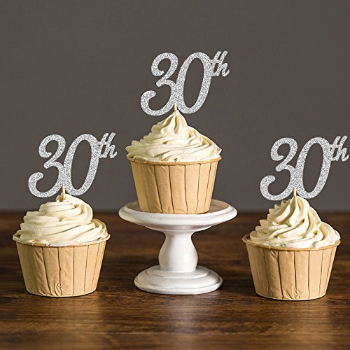 30th Cupcake Toppers Picks for 30th Birthday Party Decor Thirty Party Decorations Cake Accessory Supplies 20pcs/lot