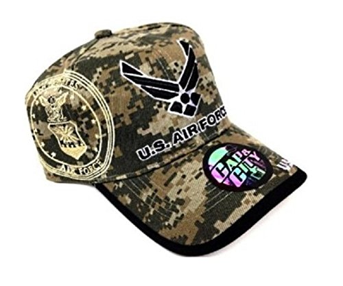 Force Cap Air Insignia (USAF United States Air Force Digital Camo Camouflage Hat Cap)