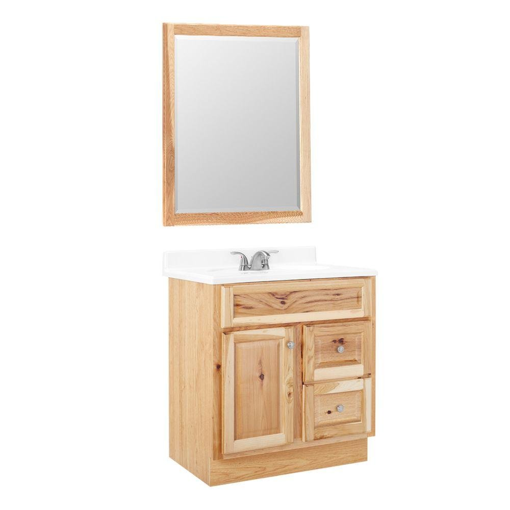 American Classics Hampton 30 in. W x 21 in. D Vanity Cabinet with Mirror in Natural Hickory