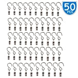 Lsgoodcare Party Light Hanger, Multifunction Metal Hanging Clip with S Hooks for Curtain/Camping/Outdoor Activities/Home Decoration, Wire Holder Clips Silver, Pack of 50, By