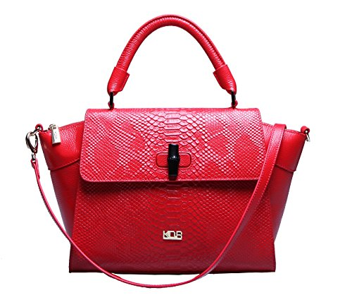KDR Women Vintage Embossed Python Genuine Leather Tote Shoulder Bag Top-handle Cross body Handbags ()