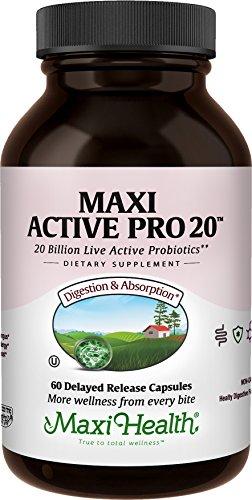 Maxi Health Active Pro-20 Intestinal Protection Probiotics, Healthy Flora, 60 Count