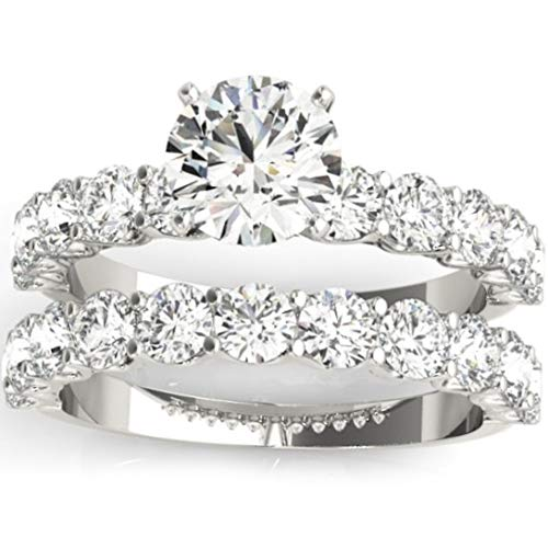 (2 1/2 Ct Diamond Round Cut Engagement Ring Matching Wedding Band 14k White Gold - Size 8)