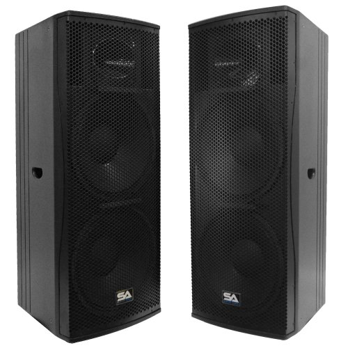 Seismic Audio - Magma-215-Pair - Pair of Premium Dual 15'' Full Range / Bi-Amp 2-Way Loudspeaker Cabinets - 1000 Watts RMS Each - PA/DJ Band Live Sound by Seismic Audio