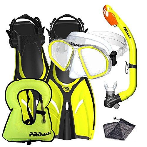 eling Vest Fins Mask Snorkel Set for kids, Yellow, LXL (Junior Snorkeling Vest)