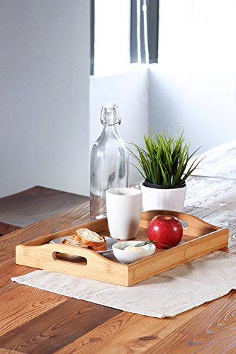 Wood Food Serving Tray with Double Handles - For Breakfast in Bed, Party Service, and More - Brown/Tan - 16 x 11 x 2.3 Inches
