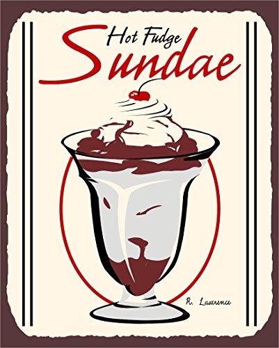 Hot Sundaes Fudge - Hot Fudge Sundae Vintage Metal Art Ice Cream Shop Retro Tin Sign