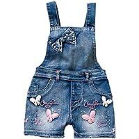YAO Summer Little Girls Cotton Denim Bib Braces Rompers Blue