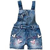 YAO Summer Little Girls Cotton Denim Bib Braces Rompers (6T)
