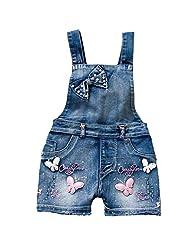 YAOYAO Summer Little Girls Cotton Denim Bib Braces Rompers