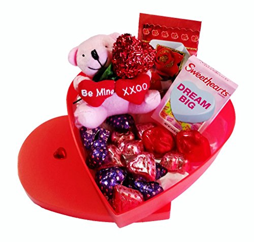 - Valentines Day Heart Gift Box, Plush Bear, Chocolate, Sweethearts & Sparkle Heart (Red)