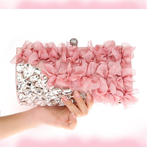 Chiffon Prom Bags Wedding Pink Flower Bridesmaid Clutch Purse Light Bag for Flada Evening Apricot Women Party Perfect for Design ZnwPXn1xqv