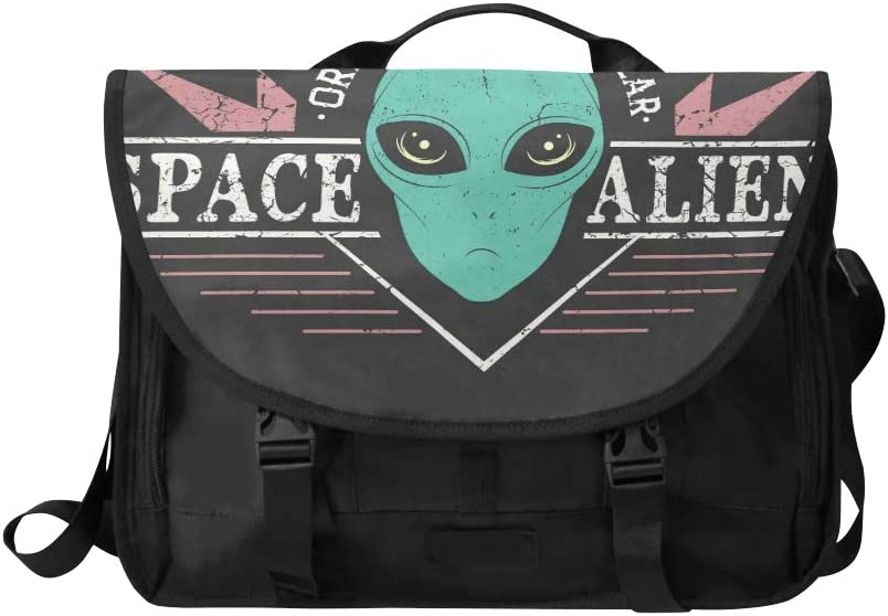 Stylish Crossbody Bags Space Alien Head Prints Design Tshirt Street Style Multi-Functional Womans Crossbody Bag Fit for 15 Inch Computer Notebook MacBook