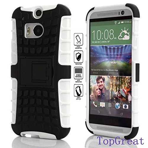 Htc One M8 Case,Htc M8 Cover Case,TopGreat/TPU+PC/Hybrid Rubberized/[Scratchproof] [Shock proof] [Skidproof] Impact Resistant Hard Shell With Kickstand [Gifts] for htc one m8 (White)