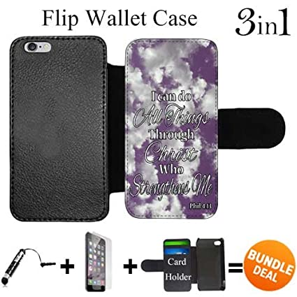 best website af067 4e2d6 Philippians 4-13 Religious Bible Verse Inspirational Custom iPhone 6 Wallet  Cases/6S Wallet Cases,Bundle 3in1 Comes with HD Tempered Glass/Universal ...