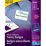 "Avery Flexible Name Badges for Laser and Inkjet Printers, 3-3/8"" x 2-1/3"", Matte White, Rectangle, 400 Pack (5395)"
