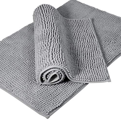 Lifewit 2 Pack 32x20 Bath Mat Anti Slip Microfiber Shaggy Chenille Bath Rugs Bathroom Shower Mats Rug Grey