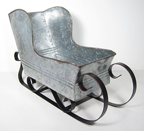Transpac Imports, Inc. Eclectic Galvanized Metal Sleigh Tabletop Center Piece Christmas Holiday Decor