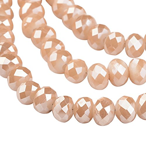 NBEADS 1 Strand Pearl Luster Plated Faceted Abacus Champagne Imitation Jade Electroplate Glass Beads Strands with 6x4mm,Hole: 1mm,about 100pcs/strand ()