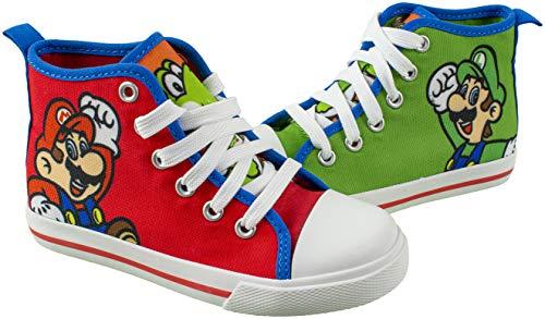 Super Mario Brothers Mario Luigi Kids Shoe, Nintendo Hi Top Sneaker Laces,Toddlers Kids, Size 7 to 12 (13 M US Little Kid, Red)