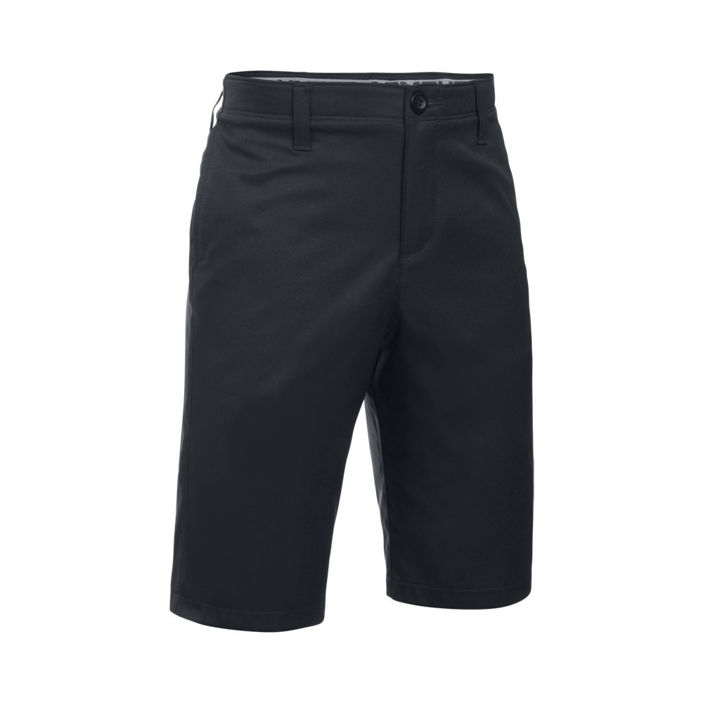 Under Armour Boys' Match Play Polo Shorts, Black/Black,6 by Under Armour