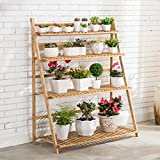 Multi-Tier Bamboo Flower Rack Indoor And Outdoor / Balcony Folding Flower Pot Rack ( Size : 50cm )