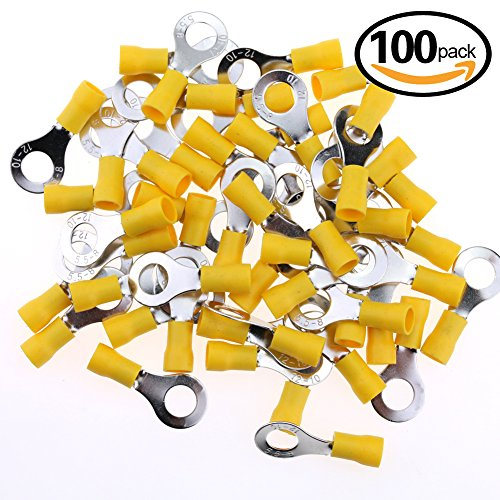 Hilitchi 100Pcs 12-10AWG Insulated Terminals Ring Electrical Wire Crimp Connectors (Yellow - M8) (Yellow - M8) (M8 Connector)