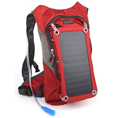 Ivation-7-W-Solar-Charging-Panel-18L-Hydration-BackpackBladder-Bag-wFlexible-Drinking-Pipe-10000-mAh-Waterproof-Power-bank--Removable-Sun-powered-7W6V-Solar-Panel-Recharges-the-Emergency-Portable-Back
