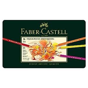 Faber-Castell Colour Pencils Polychromos 36 Colour Pencils Tin, Multicolor, 36 Count (18-110036)