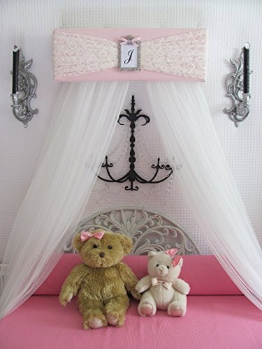 Bedroom Girls Bed Crib Canopy Pink Ivory LACE with WHITE sheer curtains SALE (Bed Antique Queen Sale For)