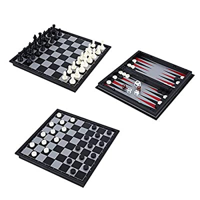 """Magnetic Travel Chess Set 3 in 1 Chess Checkers Backgammon Set for Adults Kids Folding Portable Chess Set Traditional Chess Game 9.8"""" x 9.8"""""""