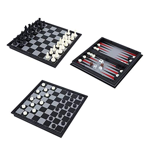 """(USATDD Magnetic Travel Chess Set 3 in 1 Chess Checkers Backgammon Set for Adults Kids Folding Portable Chess Set Traditional Chess Game 9.8"""" x)"""