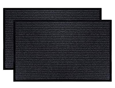 "Fasmov 2 Pack Indoor Outdoor Entrance Rug Floor Mats Shoe Scraper Doormat,20""x31.5""(Gray)"