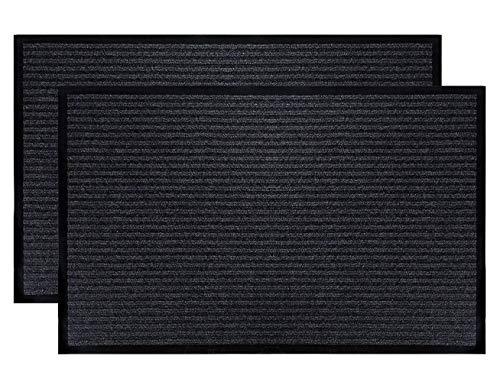 (LuxUrux Durable Rubber Door Mat Set, Heavy Duty Doormat, Indoor Outdoor Rug, Easy Clean, Waterproof, Low-Profile Door Rugs for Entry, Patio, Garage, High Traffic Entrance Way(16''x 24'' 2 Pack, Black))