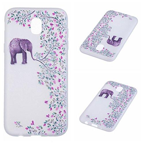 Funda Samsung Galaxy J7 2017 SM-J730F,XiaoXiMi Carcasa de Silicona TPU Suave y Esmerilada Funda Ligero Delgado Carcasa Anti Choque Durable Caja de Diseño Creativo - Flores de Datura Flores de Elefante