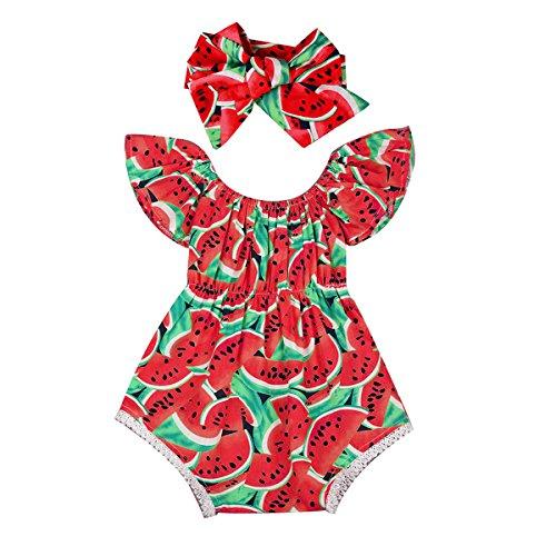 Baby Pasgeboren Baby Meisje Watermeloen Romper Jumpsuit Bodysuit + Hoofdband Outfit