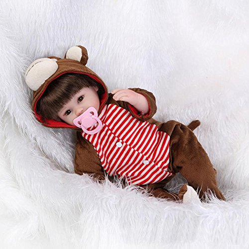 Reborn Baby Doll Girl Monkey Outfit Look Real Brown 17 Inches