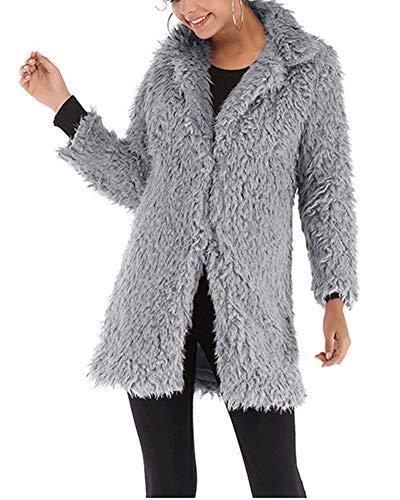 Youxin Manteau Longue Chaud Coat Gris Cardigan Duffle Manche Jacket Fausse Hiver Femme Fourrure AAdnqwarS