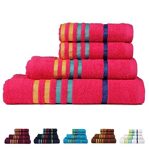 Casa Copenhagen Exotic Cotton 475 GSM 4 Pieces Bath & Hand Towels Set - Hot Pink (Bathroom Sets Teen)