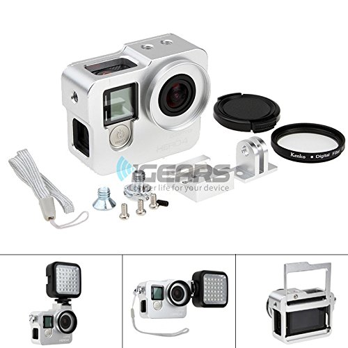 CNC Aluminium alloy Protective Housing Shell Case Frame+UV for Gopro Hero 4 Silver (Protective Case Aluminum)