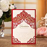 Jofanza Elegant Laser Cut Wedding Invitations Red Princess Crown Theme | Party Invites and Envelopes | All Occasions - Anniversary Bridal Shower Baby Shower Birthday Party Quinceanera (1 Piece)