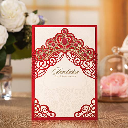 (Jofanza Elegant Laser Cut Wedding Invitations Red Princess Crown Theme | Party Invites and Envelopes | All Occasions - Anniversary Bridal Shower Baby Shower Birthday Party Quinceanera (1 Piece))