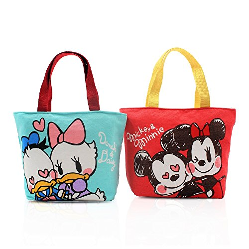Finex Set of 2 Mickey Minnie Mouse Donald Daisy Duck Canvas Zippered Tote with Top Carry Handles Love Sweet Coupl Hand Bag - Gym Makeup Diaper Reusable Grocery -
